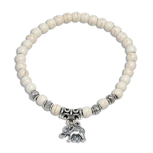 Baba Women Men Natural White Turquoise Beads Stone With Elephant Gemstone Beads Bracelet Chakra Healing Reiki 8mm