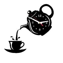 Oksale Quartz Analog Wall Clock Coffee Cup Effect Shape Of Decorative Mirror Wall Clocks (Black)