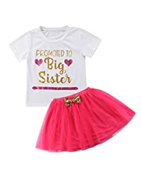 Guogo Baby Girls' Outfit Big Sister Letter Print T-Shirt Top Blouse Shirts