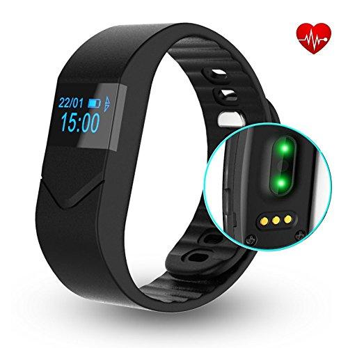 Pulsuhr Aktivitätstracker,CAMTOA Herzfrequenz E5S Fitnessarmband Schrittzähler Bluetooth 4.0 Armband OLED Display Wasserdichte IP54 Tracker Armband,Schlaf-Monitor Kalorien Schritte Zählen SMS Anrufe