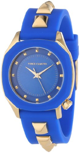 Vince Camuto Women's VC/5106BLBL Gold-Tone Pyramid Accented Blue Resin Strap Watch