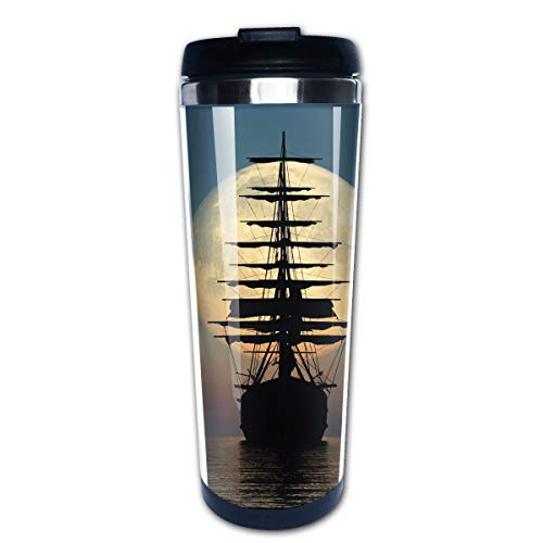 Lojaon Coffee Cup Tumbler Mug 304 Stainless Steel Liner,Boat in The Sea Print Travel Mug 400 Ml Water Bottles Portable Thermos Vacuum Flask - Free Message Lollipops