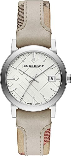 - Burberry LUXURY RARE Watch Womens Unisex Men The City Haymarket Check Fabric Authentic Leather Silver Dial Date BU9132