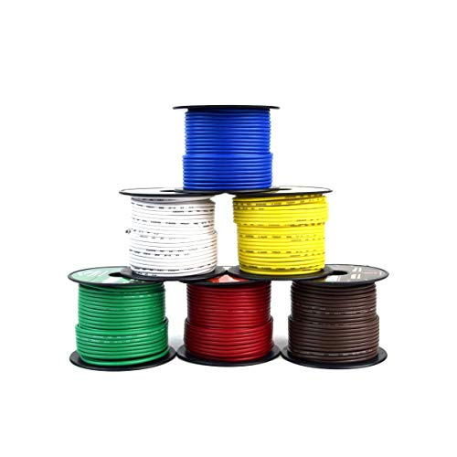 (Trailer Light Cable Wiring For Harness 100ft spools 14 Gauge 6 Wire 6 colors)