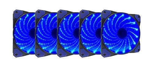 APEVIA AF512L-SBL 120mm Blue LED Ultra Silent Case Fan w/ 15 LEDs & Anti-Vibration Rubber Pads (5-pk) (Best Blue Led Case Fans)