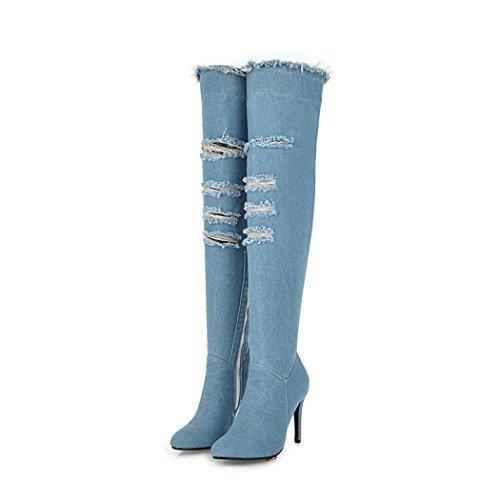 high Over Heels Light Knee Women wetkiss Blue Shoes Winter Autumn high Denim Boots Boots Thigh Fashion The Stiletto zS4SwU