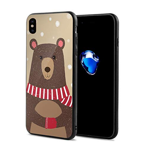 Compatible with iPhone X Case,Cute Bear Wearing Red Scarf Under Snow Winter Cold Weather Kids Playroom Print,Soft Rubber Phone Case Cover