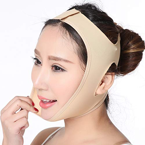 Face Lifting Slimming Belt, Facial Cheek V Shape Lift Up Thin Mask Strap Face Line Smooth Breathable Compression Double Chin Reduce Bandage (L)