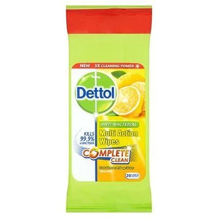Dettol Antibacteriano Multi Acción Wipes Citrus Zest 20 Toallitas grandes funda de 10