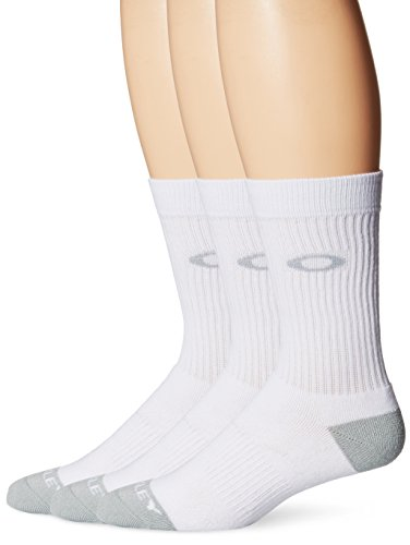 Oakley Men's Performance Basic Crew Socks 3Pk, White, Medium