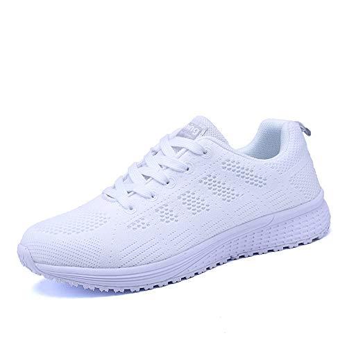 PAMRAY Damen Fitness Laufschuhe Sportschuhe Schnüren Running Sneaker Netz Gym Schuhe