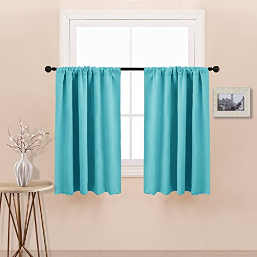 New Design Blackout Curtain Tiers - Rod Pocket Room Darkening Window Curtain Valances for Harf Window/Cafe by PONY DANCE,42 by 36 Inch,Turquoise,Double Panels - New Window Valance