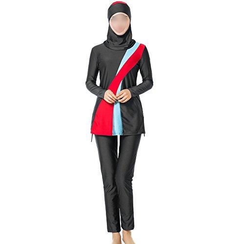 Meijunter Moyen Orient musulman Plus Size Maillots de bain Femmes 3 pièces Modeste Burkini avec Bonnet de bain islamique Arabie Saoudite Couverture complète Protection solaire Tenue de plage