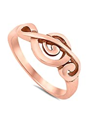 Treble Clef Ring Rose Gold Tone Sterling Silver Vintage Style Sizes 4-10