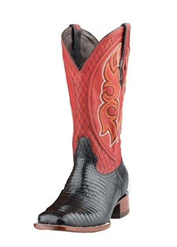 - Stetson Men's Teju Lizard Cowboy Boot Square Toe Black 9.5 D