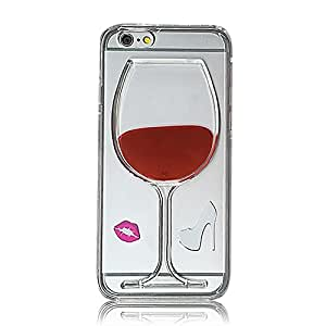 3D Clear Red Wine Glass Liquid TPU Back Cover Skin Case For iPhone 6 Plus 6S Plus 5.5 inch