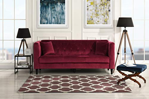 Sofamania EXP153-VV-3S-RD Mid-Century Velvet Sofa, Living Room Couch with  Tufted Buttons (Red)