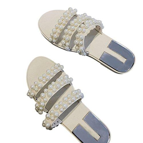 purchase cheap e8c85 2598f ... Cher Temps Femmes Pvc Perle Pantoufle Sandales Dété Gelée Plate-forme Chaussures  Blanc ...
