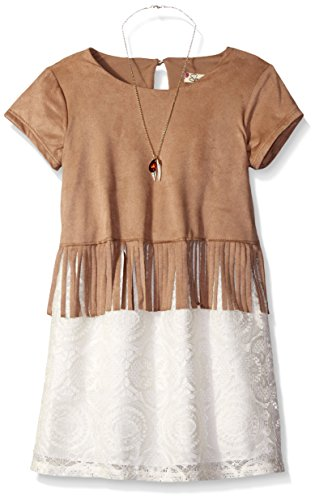 4 Round Camel (Speechless Little Girls' Knit Suede Knee Length Short Sleeve Round Neck Dress, Ivory/Camel, 4)