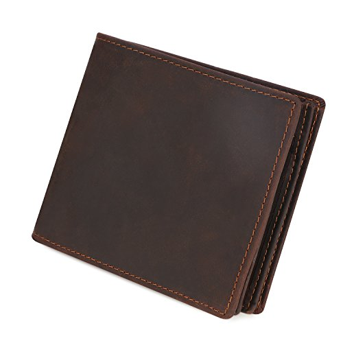 Kattee Mens Vintage Genuine Leather Bifold Wallet Brown