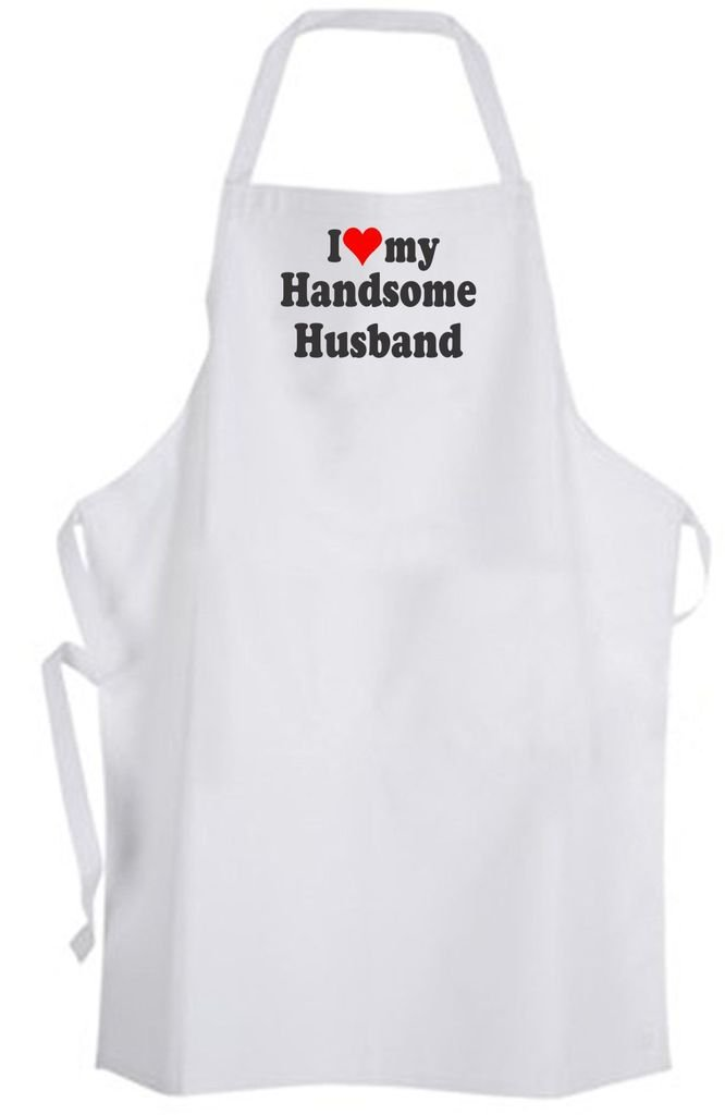 I Love my Handsome Husband – Adult Size Apron – Wedding Marriage Wife