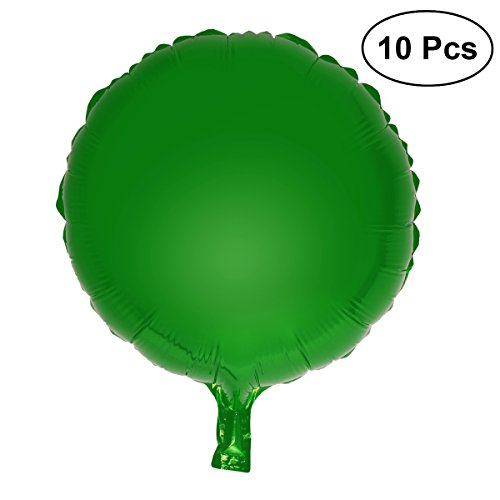 "(NUOLUX 10pcs Colorful Round Foil Balloons Party Mylar Balloons for Wedding Birthday Decoration,18"" (Green) )"