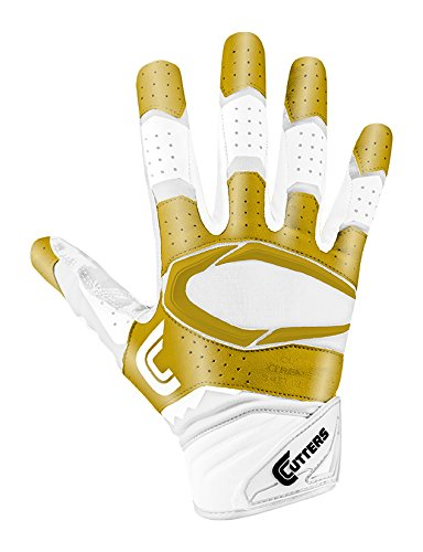 Cutters Gloves S451 Rev Pro 2.0 Receiver Gloves With C-Tack Grip, WHITE/METGOLD, Adult XXL