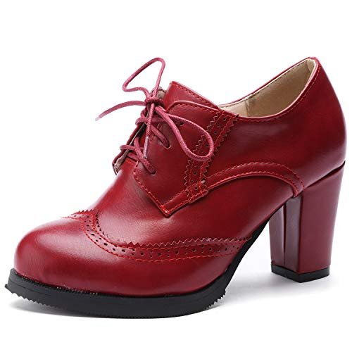 Odema Women Brogue Pumps Wingtip Lace-Up High Heel Oxfords Shoes Ankle Boots Red