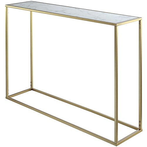 (Pemberly Row Faux Marble Top Console Table in Gold)