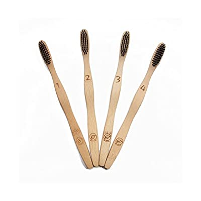 Bamboo Toothbrushes, 100% Natural Biodegradable, Eco-Friendly & Vegan, Charcoal Infused BPA-Free Soft Medium Nylon Bristles, Dental Care for Men, Women & Kids, 4-Pack with Free Travel Case by Leafico