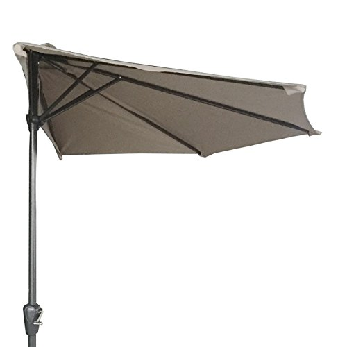 Palm Springs 9ft Aluminium Outdoor Patio Half Umbrella Garden Parasol Beige
