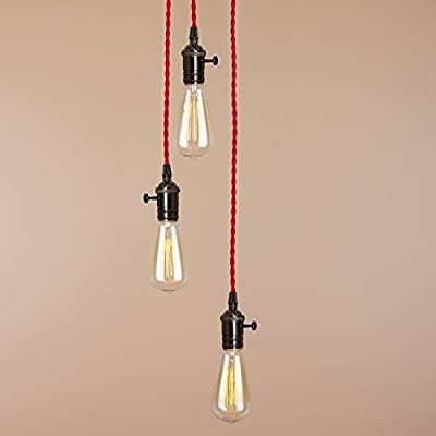 3 Pendants Industrial Cluster Light Fixture Unique Chandelier E26 Medium Base Red Braided Wire