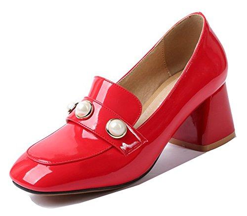 Escarpins À Bout Carré Femme Aisun - Habillé Chaussures Basses Taille Brun - Slip Sur Talon Moyen Rouge