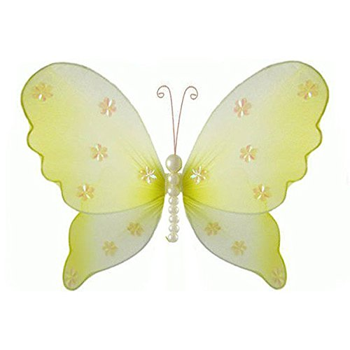 The Butterfly Grove Isabella Pearl Butterfly Decoration 3D Hanging Mesh Organza Nylon Decor, Yellow Daffodil, Small, 5