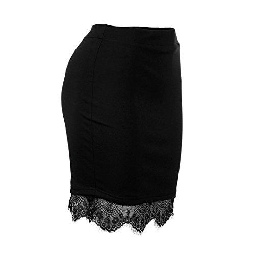 Mode Dentelle Taille LuckyGirls Courte Crayon Noir Haut Ourlet Femmes Sexy Mini Jupe Jupe dq66gUT