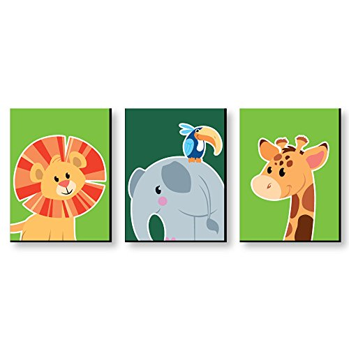 "Baby Zoo Wall Hanging - Jungle Party Animals - Safari Zoo Animal Nursery Wall Art & Kids Room Decor - 7.5"" x 10"" - Set of 3 Prints"