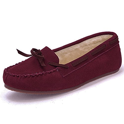 CHUI Women Moccasins Slippers Faux Suede Comfortable Fur Loafers Flat Shoes Red 5gP3oTCzGR