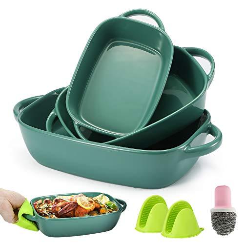 Bakeware Set,Casserole Dish,Ceramic Bakeware Set 3 PCS,Lasagna Pans,Baking Dishes,Baking Pans with 1 Cleaning Brush and…