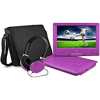 Ematic EPD909PR 9-Inch Swivel Purple Portable DVD Player with Headphones and Bag - Purple