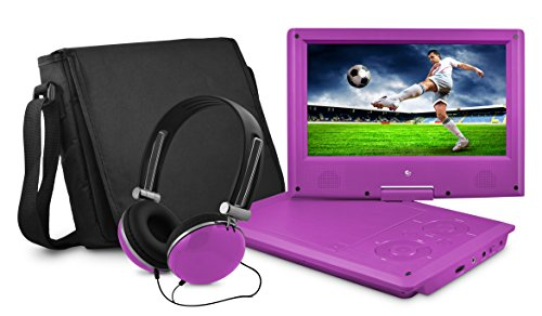 Ematic Portable DVD Player - 9-Inch High Resolution LCD Display, ON-THE-GO Movies, Music & Photos, 180 Degree Swivel, Premium Headphones, Travel Case