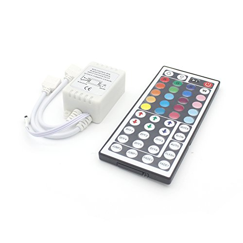 Dual Ir Light (RGBZONE 44 Keys Wireless IR Remote Controller with Receiver for RGB 3528 5050 LED Light Strip - Dual Outputs)