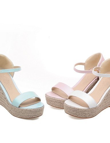 ShangYi Women's Shoes Leatherette Wedge Heel Wedges Sandals Casual Blue / Pink / White Blue NRgxEerFKq
