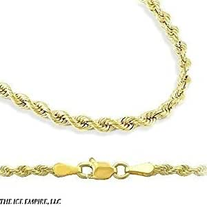 "18k Gold Plated 2mm Italian Rope Chain Necklace Bracelet Sets 7"" 8"" 8.5' 9"" 18"" 20"" 24"" (18"" Necklace and 9"" Bracelet)"