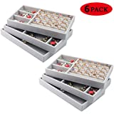 Drawer Organisers for Jewellery,Jewelry Trays for Drawers,Stackable Velvet Jewelry Trays Organizer Jewelry Display Storage Tray for Earring Necklace Bracelet Ring Organiser Display