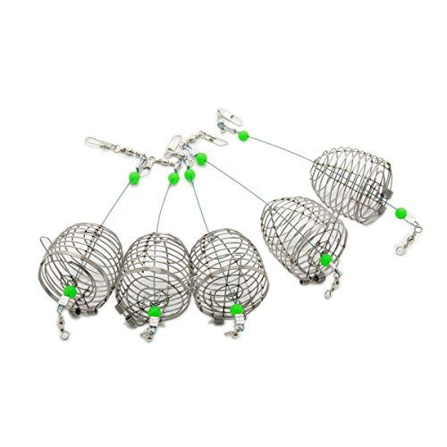 bouti1583 Fishing Bait Trap Cage Feeder Basket Holder Lure Fish Accessories L 5 Pcs (Best Carp Bait To Use In Spring)