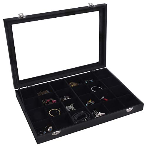 AUTOARK Velvet Clear Lid 24 Grid Jewelry Box Showcase Display Organizer,Black,AJ-083