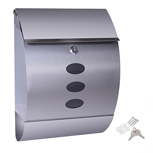 Locking Apartment Mailbox - NEW Stainless Steel Wall Mount Mail Box w/ Retrieval Door & Newspaper Roll & 2 Keys