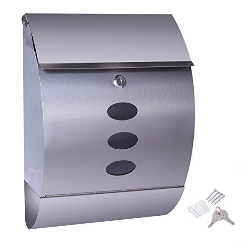 Mailbox Apartment Locking - NEW Stainless Steel Wall Mount Mail Box w/ Retrieval Door & Newspaper Roll & 2 Keys