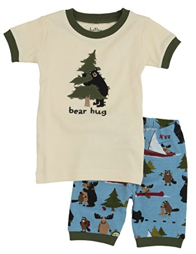 Little Blue House by Hatley Boys' Little Short Sleeve Appliqué Pajama Set, Bear Hug, 10