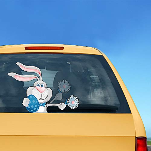ZYTC Cartoon Easter Bunny Wiper Decal Tag Joy Rear Waving Windshield Cute Rabbit Window Car Move Stickers Funny Easter Gift Wiper Decoration Self-Adhesive Decals Waterproof (Rabbit Holding Flowers)